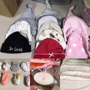 Mittens, Hats, Silver-plate Rattle and Burpcloths!